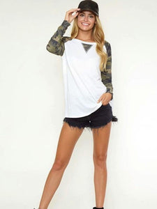 White Long Camo Sleeve Baseball T-Shirt
