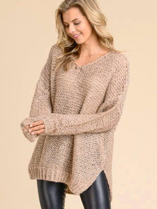 Cozy Salmon V Neck Sweater