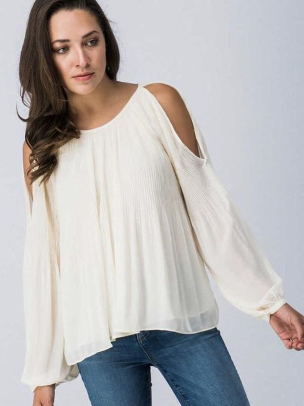 Off White Cold Shoulder Flare Ciffon Top