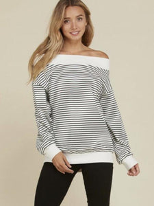 Off White/Black Stripe French Terry Knit Off the Shoulder Top