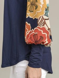 Navy Solid Top With Contrast Floral Print Puff Sleeves