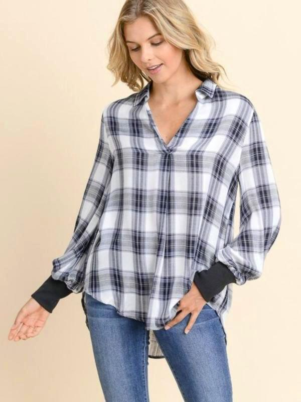 Black/Ivory Plaid Knit Trimmed Sleeve Top