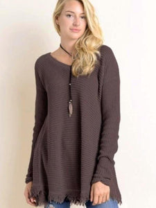 Charcoal/Brown Long Sleeve Waffle Frayed Hem Top