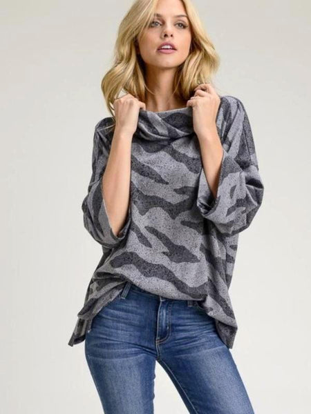 Charcoal Animal Print, French Terry, 3/4 Sleeve, Slouchy Turtle Neck Top