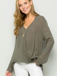 Olive contemporary surplice blouse