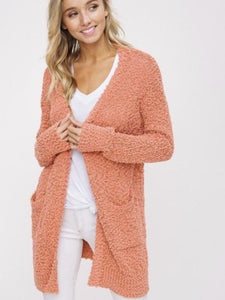 Blush Chunky Knit Open Cardigan Sweater