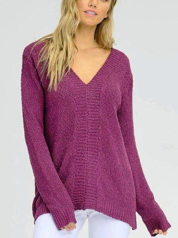 Purple Lace-Up Back Sweater Top
