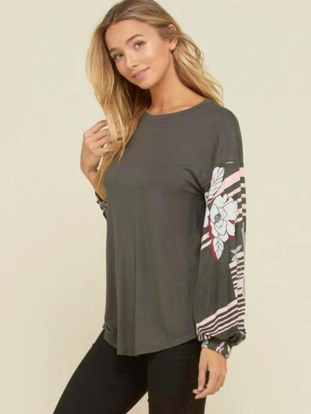 Olive Solid Knit Top With Floral Print Bubble Long Sleeve