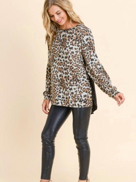 Leopard Bubble Sleeve Sweater With Woven Solid Black Back