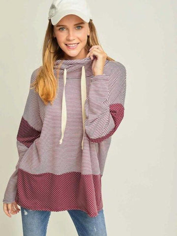 Burgundy Striped & Polka-Dot Cowl Neck Top with Drawstring