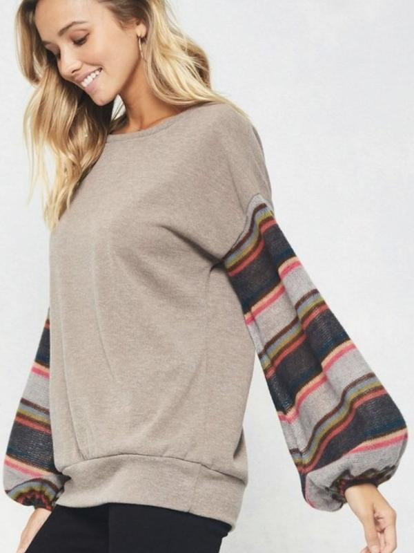 Mocha Striped Puff Long Sleeves Top