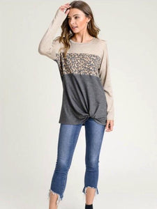 Leopard Long Sleeve w/Twisted Hem