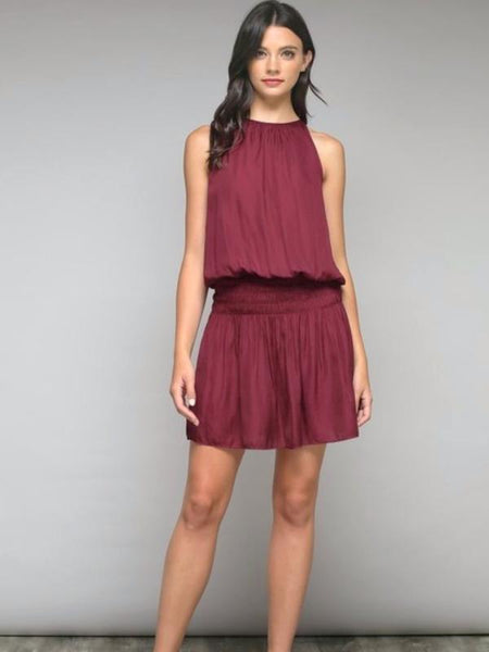 Wine Smocked Waist Mini Dress