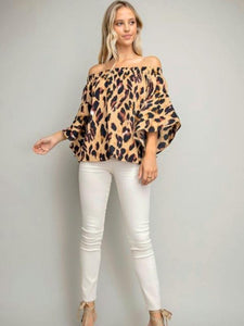 Leopard Print Off-Shoulder Flounce Top