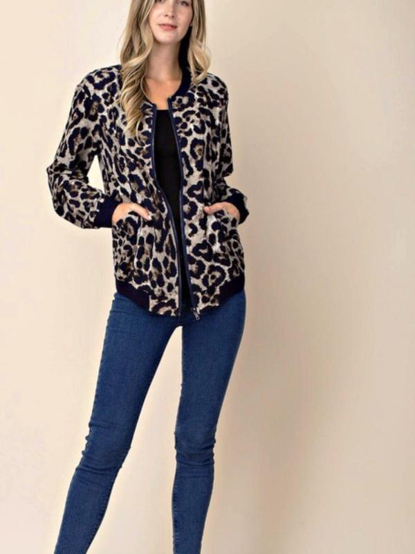 Navy/Mix Leopard Jacket