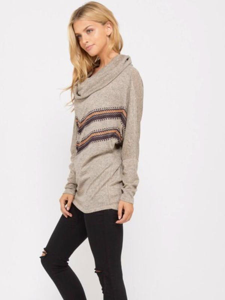 Taupe Long Sleeve Cowl Neck Tunic Top