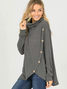 Charcoal Long Sleeve Slouchy Turtle Neck And Buttons Going Up Top