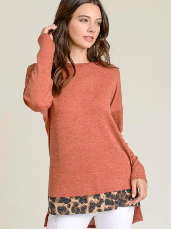 Rust Long Sleeve Brushed Hacci Leopard Top with Round Neckline