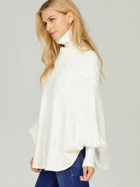 Ivory Cable Knit Mock Neck Poncho