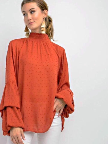 Crimson Make A Statement Bubble Sleeve