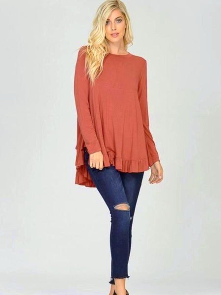 Brick Long Sleeve Frilled Hem Top