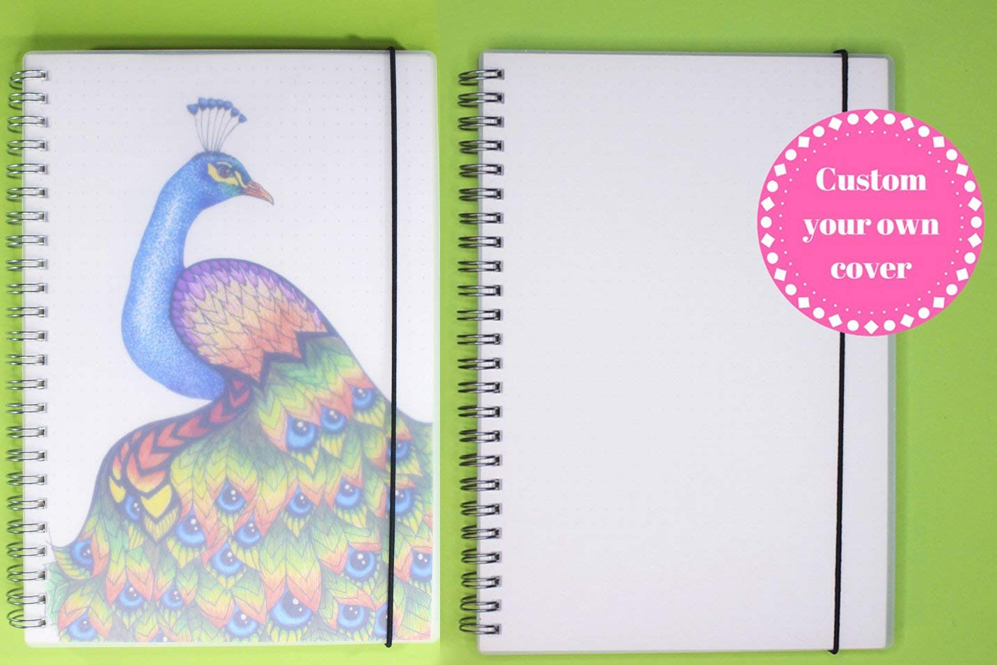 2-Pack Dotted Notebook - Spiral Bound Bullet Journals, A5 Size - 2 x 160 Thick Non-Bleed Dot Grid Pages