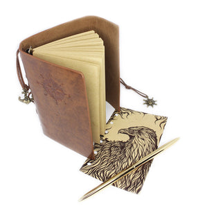 "Vintage Journal: 4"" x 6"" Notebook with Gold Colored Pen - Premium PU Leather"