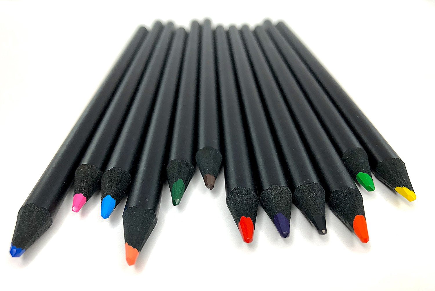 Colored Pencils: Set of 12 Varying Color Pencils in a Stylish Black Box - Pre Sharpened