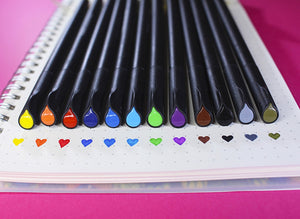 Fineliner Pens: Set of 24 Bullet Journal Markers - 24 Different Colors with 0.4mm Fine Tip