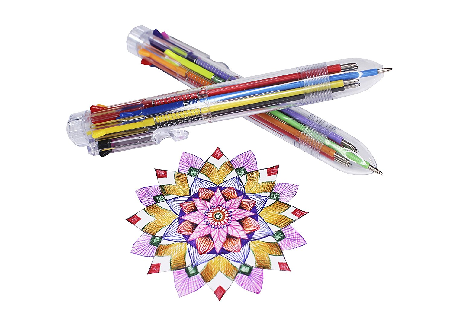 Multicolor Pens: 10 Pack of Retractable 8-in-1 Ballpoint Pens & E-book - 0.5mm Tip