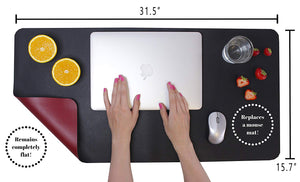 "Desk Mat Protector 31.5"" x 15.7"" - Premium PU Leather - Double Sided, Water Resistant, Replaces the Mouse Pad"