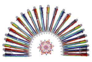Multicolor Pens: 24 Pack of 6-in-1 Retractable Ballpoint Pens & E-book - 6 Vivid Colors in Every Pen