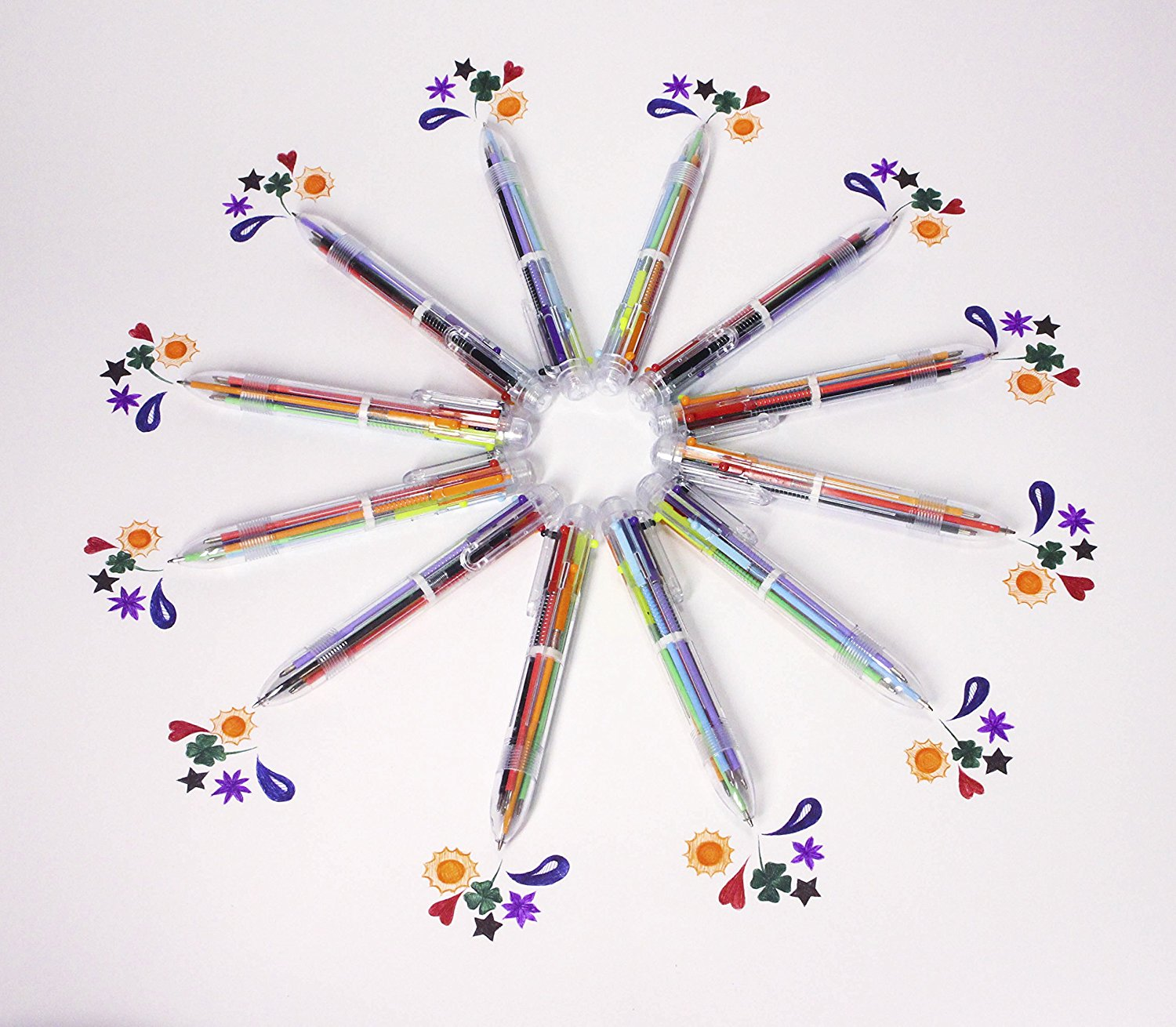 Multicolor pens: 12 Pack of 6-in-1 Retractable Ballpoint Pens + E-book - 6 Vivid Colors in Every Pen - Best for Effective Learning