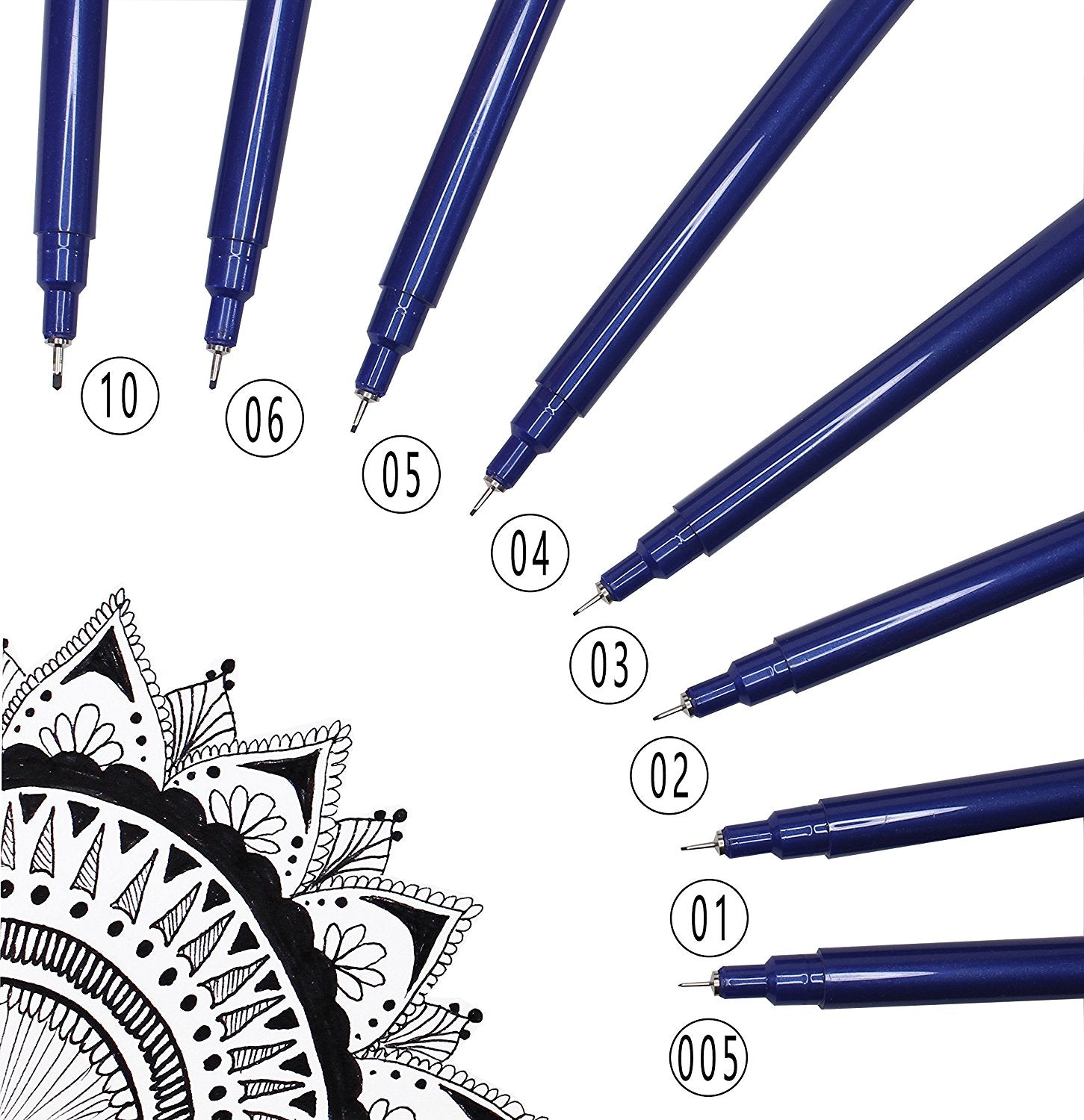Microline Pens: Set of 8 Varying Sized Fine Tip Pens from 0.05 to 1.0mm - Black Ink