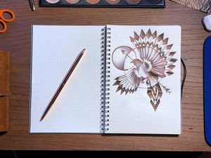 Dotted Bullet Journal: A5 Sized Spiral Notebook with Rose Gold Pen - 160 Thick Dot Grid Pages with Transparent Cover
