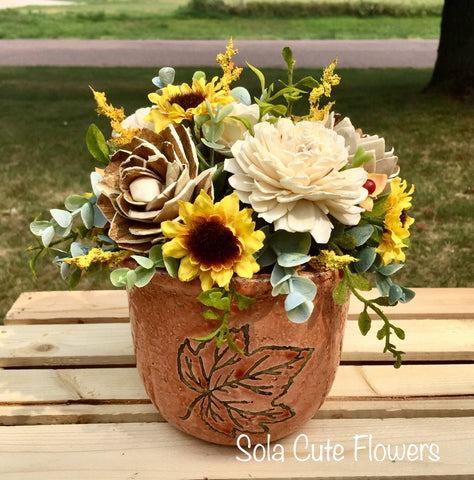 Ceramic Sunflowers Wood Flower Arrangement