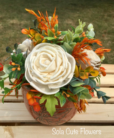 Ceramic Fall Leaf wood flower Arrangement
