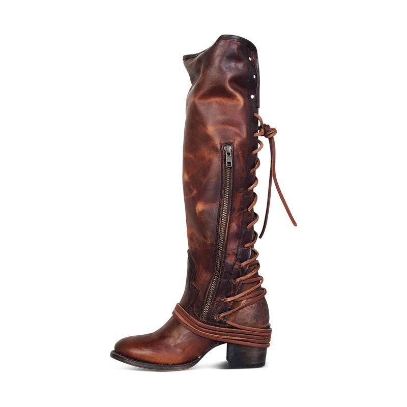 0114baa86e2 Women Vintage Lace Up Boots European Style Bandage Above Knee Boots ...