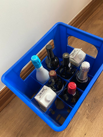 Blue Fuzzy Brands bottle crate