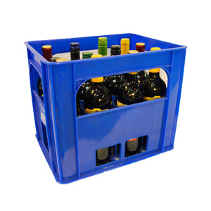 Blue Bottle Crate Holding 12 Wine Bottles