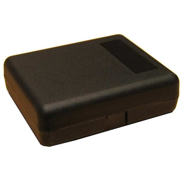 Hinged plastic box with clip fasteners, 145x122x43mm