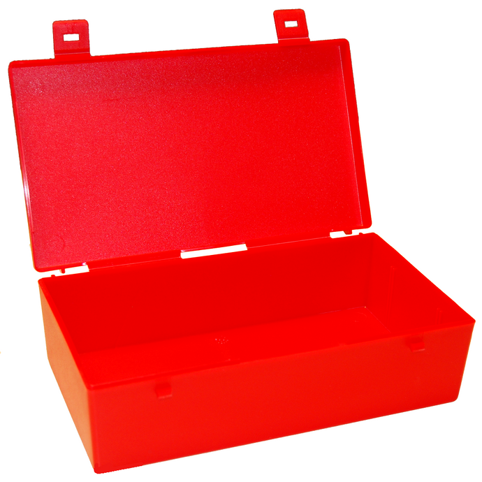 Large Storage Hinged Plastic Box with clip fasteners, 230x135x70mm