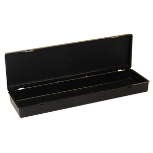 Slimline Storage Hinged Plastic Box with clip fasteners, 338x101x44mm