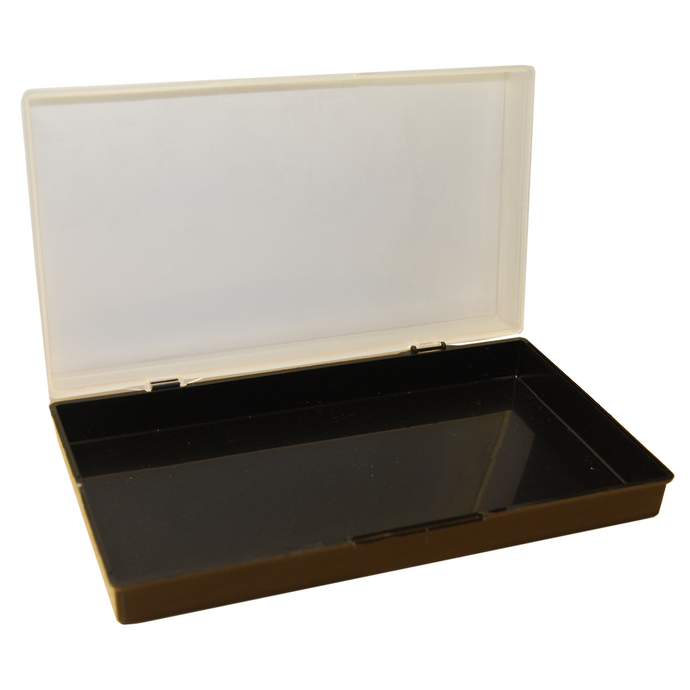 Hinged plastic box with clip fasteners, 235x137x44mm