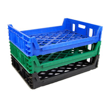 Stacked 15 Loaf Bread trays, blue, green, black (in descending order)