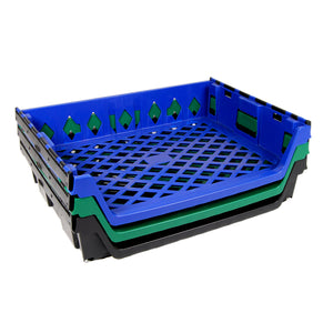 Stack of 15 Loaf Bread Trays, Blue, Green & Black, 1 of each
