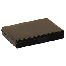 Hinged plastic box with clip fasteners, 112x83x19mm