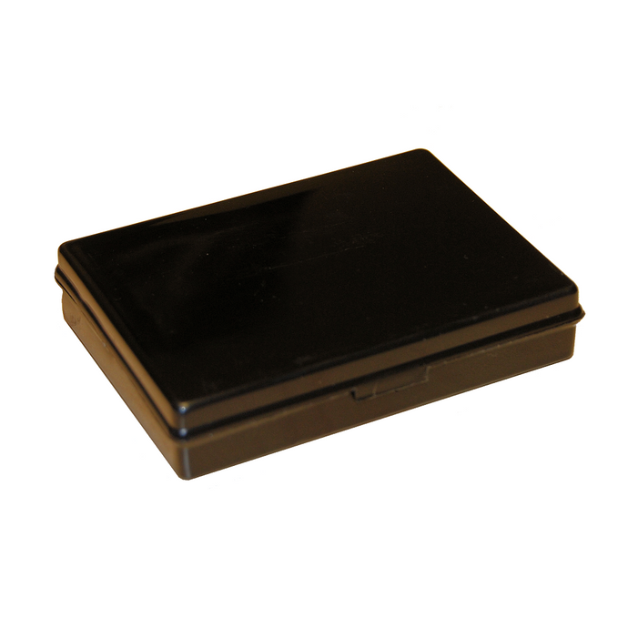 Hinged plastic box with clip fasteners, 95x71x19mm