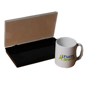 Fuzzy Brands Toolbox / Desk Draw Tidy Thin Clear Lid Storage Box, 235x137x34mm