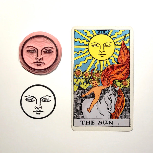 The Sun face from the The Sun card hand carved stamp